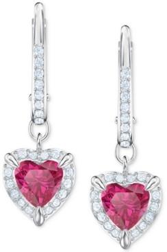 Swarovski Silver-Tone Crystal Heart Drop Earrings