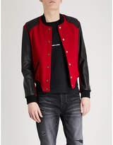 Saint Laurent Contrasting wool-blend and leather varsity jacket