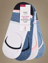 Marks and Spencer 4 Pair Pack Cotton Rich Trainer Liner Socks