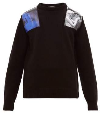 Raf Simons Blue Velvet Applique Wool Sweater - Mens - Black