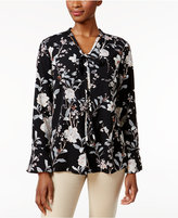 Charter Club Floral-Print Tie-Neck Blouse, Only at Macy's