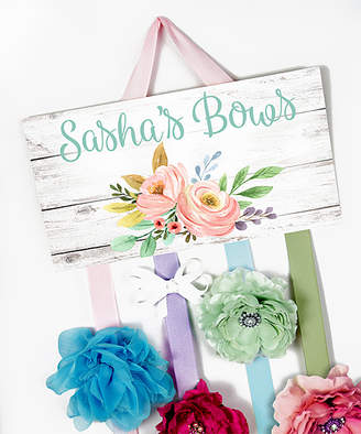 Toad And Lily Toad and Lily Hair Bows blue - White & Pink Floral Cluster Personalized Hair Bow Holder