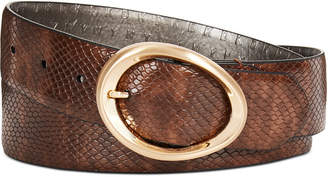 DKNY Snake-Embossed Belt with Oval Buckle