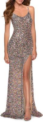 La Femme Multicolor Sequin Gown