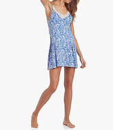 Lucky Brand Lace-Trimmed Floral Jersey Racerback Swing Chemise