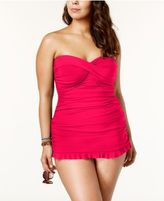 Gottex Profile by Plus Size Tummy-Control Ruched Ruffled Swimdress