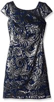 Adrianna Papell Women's Sequined Chiffon Cap-Sleeve Sheath Dress