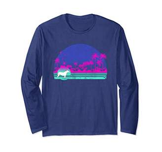 Breed Graphic 365 Dog Bull Terrier Retro Palm Tree Style Long Sleeve T-Shirt