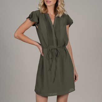 Molly Bracken Short Ruffled Shirt Dress with Pleats