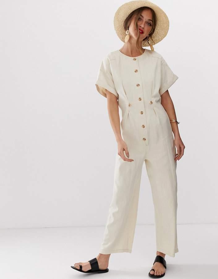 Asos Design DESIGN denim relaxed boilersuit in off white