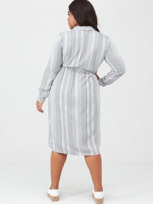 Junarose Adya Long Sleeve Midi Dress - Black/White