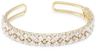 Adriana Orsini Verbena 18K Yellow Gold, Rhodium-Plated & Crystal Thin Flexible Cuff Bracelet