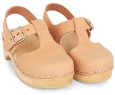 Swedish Hasbeens Nude Wooden T-Strap Sandals