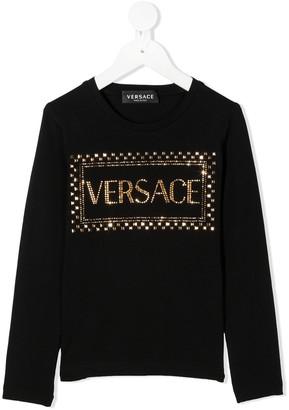 Versace Kids TEEN embellished logo T-shirt