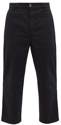 Loewe Cropped Cotton Chino Trousers - Mens - Blue