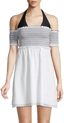 Kisuii Aya Smocked Off-The-Shoulder Cover-Up Dress