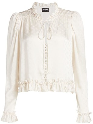 The Kooples Puff Sleeve Silk Blend Blouse
