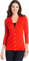 Anne Klein Sweater, Three-Quarter-Sleeve V-Neck Cardigan