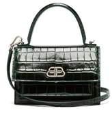 Balenciaga Sharp Xs Crocodile-effect Leather Cross-body Bag - Womens - Dark Green