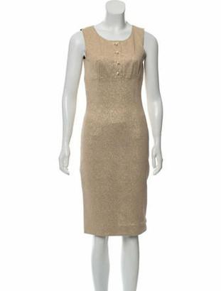 Dolce & Gabbana Metallic Sheath Dress Gold