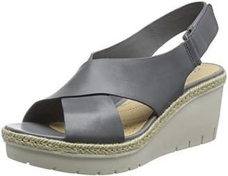 Clarks Women's Palm Glow Ankle Strap Sandals, Grey Leather