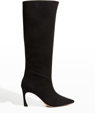 Alexandre Birman Kyra 85mm Zip Suede Tall Boots