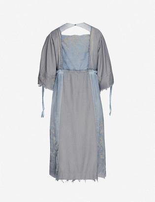 Renli Su Puffed-sleeve rayon and linen-blend midi dress