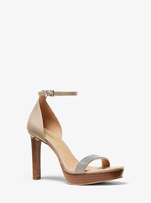 Michael Kors Margot Embellished Leather Platform Sandal