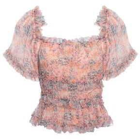 Love Sam Ruffle-trimmed Floral-print Georgette Peplum Top
