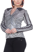 Silver & Black Abstract Bomber Jacket - Plus Too