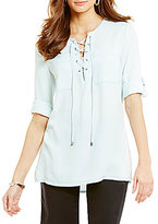 Intro Denim Lace-Up Scoopneck Woven Top