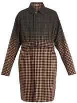 BOTTEGA VENETA Single-breasted degradé checked wool-blend coat