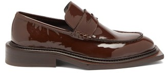 Martine Rose Volcano Patent-leather Penny Loafers - Brown