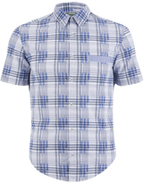 BOSS GREEN Men's Bicron Check Shirt Medium Blue