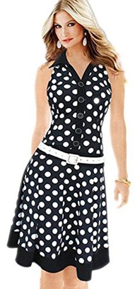 Clemunn Women Dress Womens Print Dress Demin Polka Dot Sleeveless V-Neck Evening Party Gowns Beach Midi Dress (Black M)