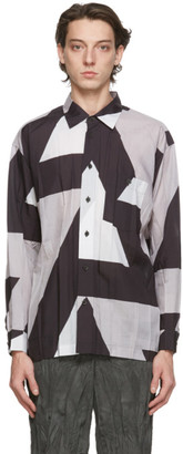 Issey Miyake Grey Printed Wrinkle Shirt