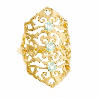 Neola Jade Gold Cocktail Ring With Aqua Chalcedony