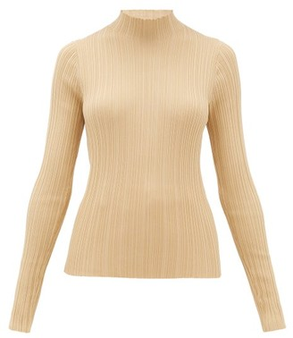Acne Studios Katina High-neck Ribbed Cotton-blend Sweater - Beige
