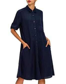 120% Lino 120 Lino Short Sleeve Shirt Dress