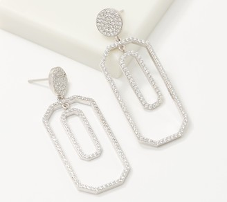 Diamonique Geometric Pave Dangle Earrings, Sterling Silver