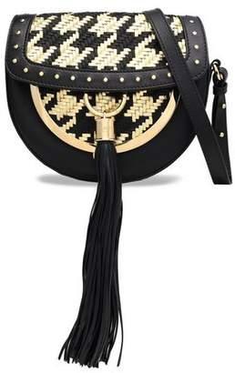 Balmain Embellished Matte And Metallic Woven Leather Shoulder Bag