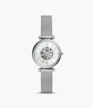 Fossil Carlie Mini Automatic Stainless Steel Mesh Watch
