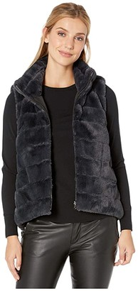 Dylan by True Grit Faux Fur Love Reversible Vest with Black Reverse (Indigo) Women's Clothing