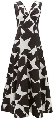 Colville - Star-print Cotton Maxi Dress - Black White