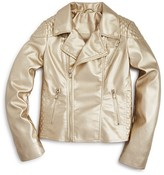 Aqua Girls' Metallic Moto Jacket - Sizes S-XL