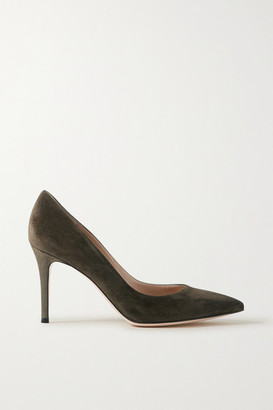 Gianvito Rossi 85 Suede Pumps - Army green