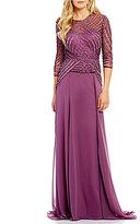 Terani Couture Beaded Bodice Illusion Sweetheart Neckline Chiffon Skirt Gown