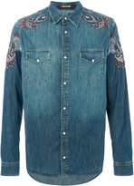 Roberto Cavalli patch embellished denim shirt - men - Cotton/Viscose - 50