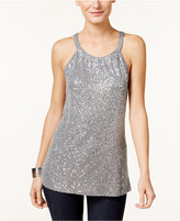 INC International Concepts Petite Sequin Halter Top, Only at Macy's