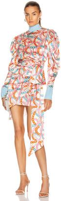 MARIANNA SENCHINA Buff Sleeve Mini Dress in Milk Chain Sky Blue | FWRD
